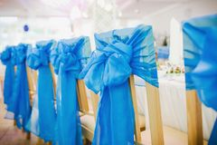 Empty wedding chairs Stock Photo