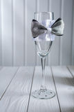 Empty wedding ornated wineglass Royalty Free Stock Photo
