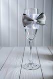 Empty wedding ornated wineglass Royalty Free Stock Photo