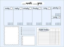 Empty weekly planner with water level tracker, space for notes,. To do list and habit tracker, blue background. Schedule and organizer template. Raster stock illustration