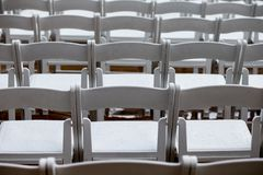 Empty wet chairs Royalty Free Stock Photo