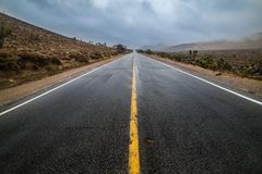 Free Empty Wet Desert Asphalt Pavement Road With Yellow Highway Marking Lines Stock Photo - 113406070