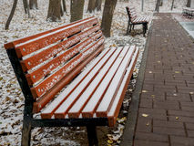 Empty wet path and benches covered with snow in the park in the autumn cloudy Stock Photos