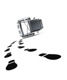 Empty wheelchair and footprints on white background. 3d illustra Stock Images