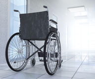 Empty wheelchair parked in hospital hallway  hope concept Royalty Free Stock Photos