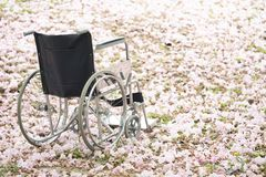 Empty wheelchair parked in hospital. Healthy and medical concept royalty free stock image
