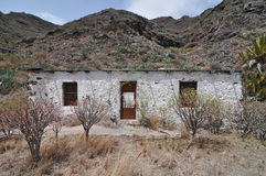 Empty White Abandoned Building in the Desert Stock Images