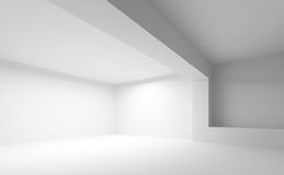 Empty white abstract 3d interior. Abstract white architecture background. Empty 3d interior Stock Photos