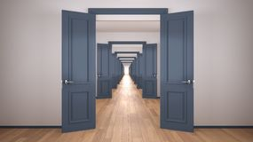 Free Empty White And Blue Architectural Interior With Infinite Open Doors, Endless Corridor Of Doorway, Walkaway, Labyrinth. Move Stock Photo - 166612800