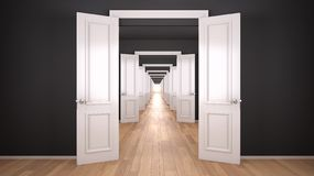 Free Empty White And Gray Architectural Interior With Infinite Open Doors, Endless Corridor Of Doorway, Walkaway, Labyrinth. Move Stock Images - 166612694