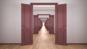 Free Empty White And Red Architectural Interior With Infinite Open Doors, Endless Corridor Of Doorway, Walkaway, Labyrinth. Move Stock Photos - 166612813