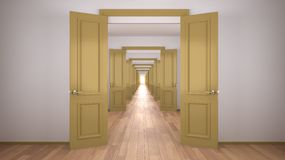 Free Empty White And Yellow Architectural Interior With Infinite Open Doors, Endless Corridor Of Doorway, Walkaway, Labyrinth. Move Royalty Free Stock Images - 166612809