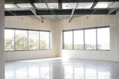 Empty white apartment room. New empty office space, apartment room, modern business hall Stock Image