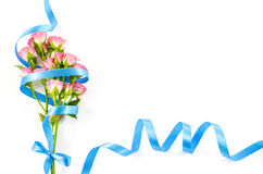 Empty white background with colorful flowers and blue ribbon Royalty Free Stock Images