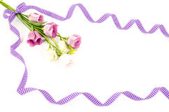 Empty white background with colorful flowers and purple ribbon. Empty white postcard with colorful flowers and purple ribbon royalty free stock images
