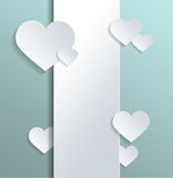 Empty White Banner with Hearts for Valentines Day Stock Images