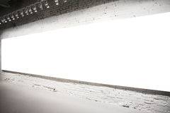 Empty white banner on wall Stock Photos