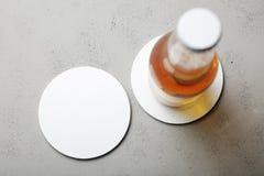 Empty white bear coaster mockup.  stock photography