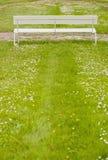 Empty white bench Stock Photos