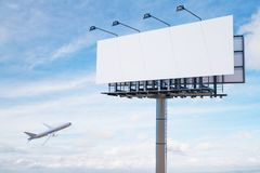 Empty white billboard. And flying airplane on city sky background. Travel and advertising concept. Mock up, 3D Rendering vector illustration