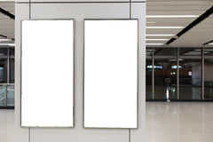 Empty White Billboard. Inside building royalty free stock photography