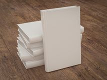 Empty white book mockup template on wood background Royalty Free Stock Photo