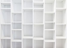 Empty White Bookcase Stock Photo