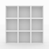 Empty white bookshelf. Isolated on white. 3D render image Royalty Free Stock Photo