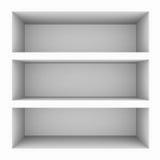 Empty white bookshelf isolated on white. Stock Photo