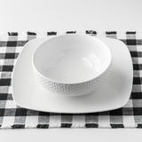 Empty white bowl and plate Stock Images