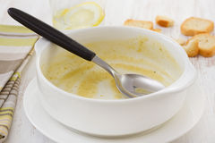 Empty white bowl from soup Royalty Free Stock Photography