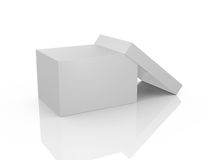 Empty White Box. White, open, empty box template, isolated on white background Royalty Free Stock Images