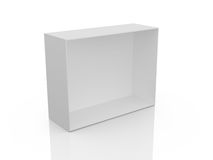 Empty White Box. White, open, empty box, isolated on white background Royalty Free Stock Photography