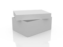 Empty White Box. White, open, empty box template, isolated on white background Stock Photography