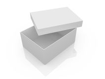 Empty White Box. White, open, empty box template, isolated on white background Stock Photos