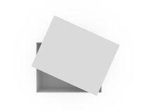 Empty White Box. White, open, empty box template from op view, isolated on white background Royalty Free Stock Photos