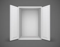Empty white box with open doors and nothing inside Stock Photos