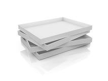 Empty White Boxes. White, open, empty box templates, isolated on white background Royalty Free Stock Photo