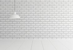 Empty white brick background with lamp. Mockup, template. 3d ill. Ustration. 3d render stock illustration