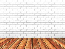 Empty white brick room with wooden floor. 3d render illustration Royalty Free Stock Image