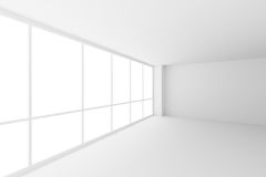 Empty white business office room corner with large windows, wide. Business architecture white colorless office room interior - empty white business office room royalty free stock photography