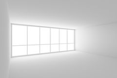 Empty white business office room with large window. Business architecture white colorless office room interior - empty white business office room with white Royalty Free Illustration
