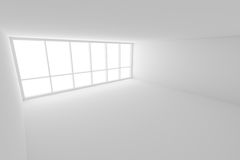 Empty white business office room with large window. Business architecture white colorless office room interior - empty white business office room with white Stock Photography