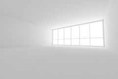 Empty white business office room with large window. Business architecture white colorless office room interior - empty white business office room with large Royalty Free Stock Image