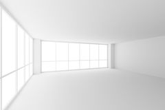 Empty white business office room with two large windows. Business architecture white colorless office room interior - empty white business office room with Vector Illustration