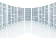 Empty white cabinets with cells Stock Photography