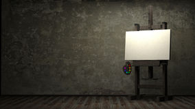 Empty white canvas for artist. On wooden easel in dark room 3d stock illustration