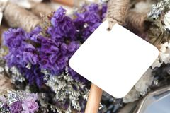 Empty white card and purple flower background. Empty white card and purple flower background Royalty Free Stock Photos