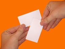 Empty white cards. Isolated empty white blank card ready for text on orange background Stock Photography