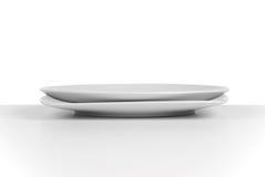 Empty white ceramic dish Stock Photos